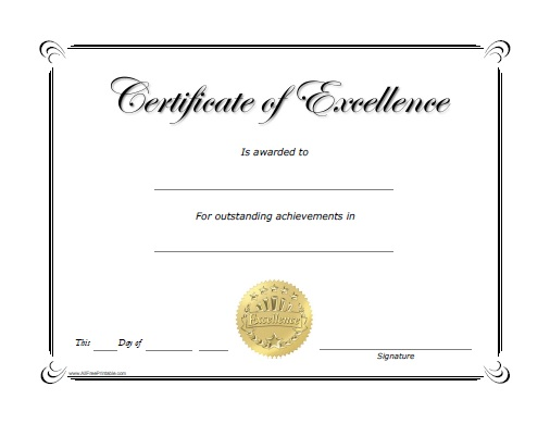 Excellence Award Certificate - Free Printable - AllFreePrintable