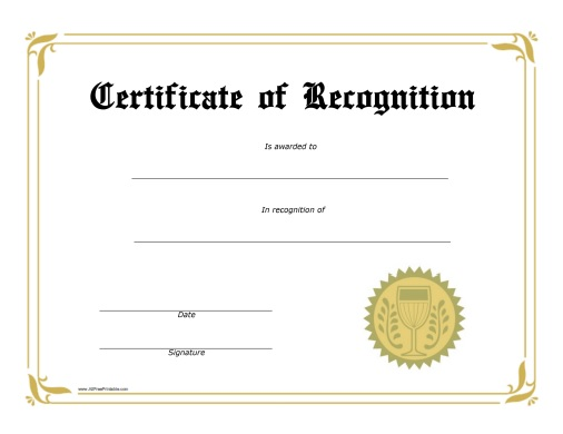 Recognition Award Certificate - Free Printable - AllFreePrintable - free printable honor roll certificates