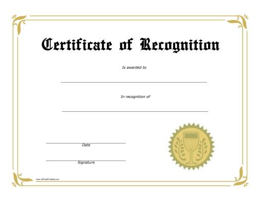 Recognition Award Certificate - Free Printable - AllFreePrintable