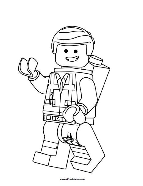 Lego Emmet Coloring Page - Free Printable - AllFreePrintable