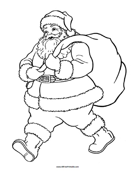 Santa Claus Coloring Page - Free Printable - AllFreePrintable
