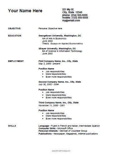 Employment Curriculum Vitae Template - Free Printable