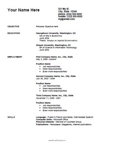 Simple Curriculum Vitae Template - Free Printable - AllFreePrintable