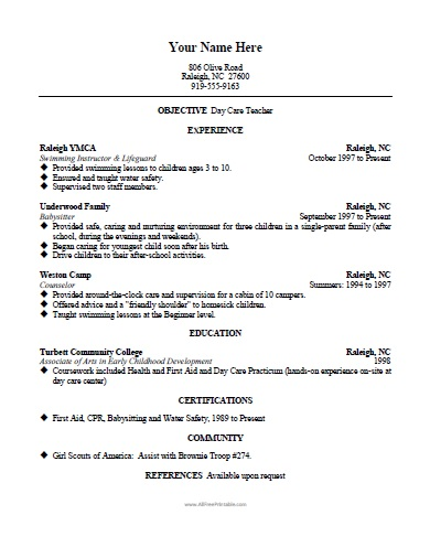 Daycare Teacher Resume Template - Free Printable - AllFreePrintable