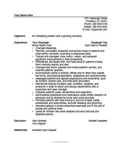 Home Health Aide Resume Template - Free Printable - AllFreePrintable