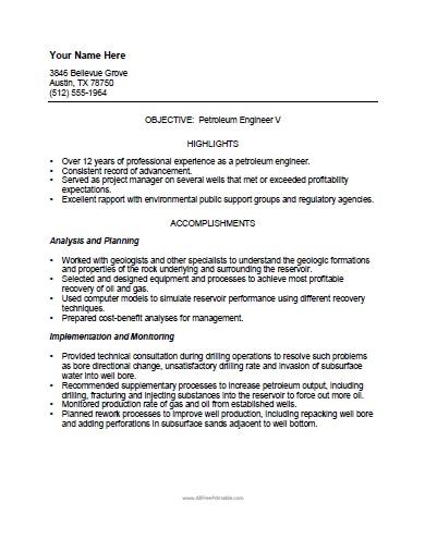 petroleum engineer resume template