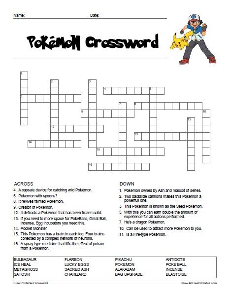 Pokemon Crossword - Free Printable - AllFreePrintable