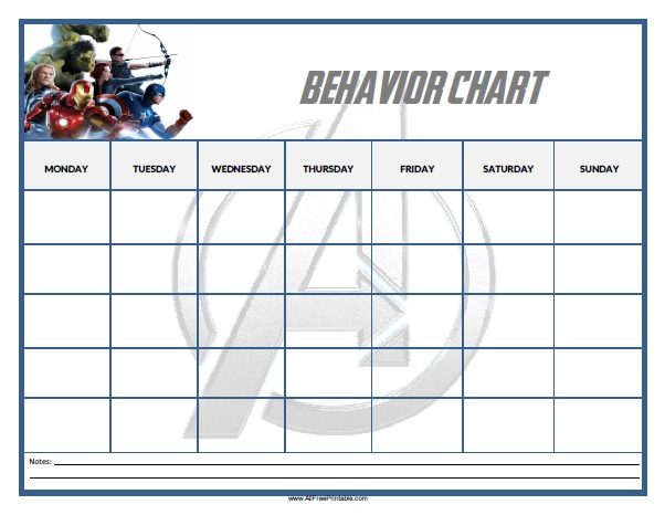 Avengers Behavior Chart - Free Printable - AllFreePrintable - printable behavior chart