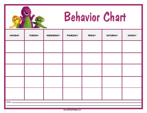 Barney Behavior Chart - Free Printable - AllFreePrintable - printable behavior chart
