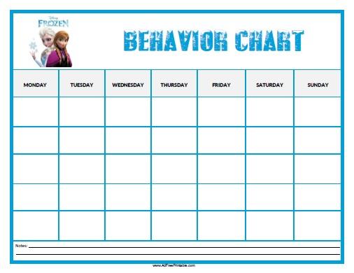 Frozen Behavior Chart - Free Printable - AllFreePrintable