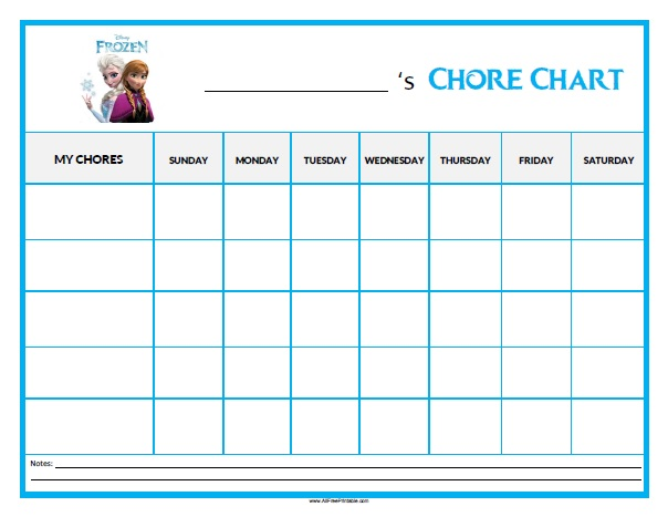 Frozen Chore Chart - Free Printable - AllFreePrintable