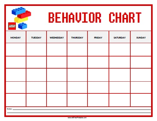 Lego Behavior Chart - Free Printable - AllFreePrintable - Kids Behavior Chart Template