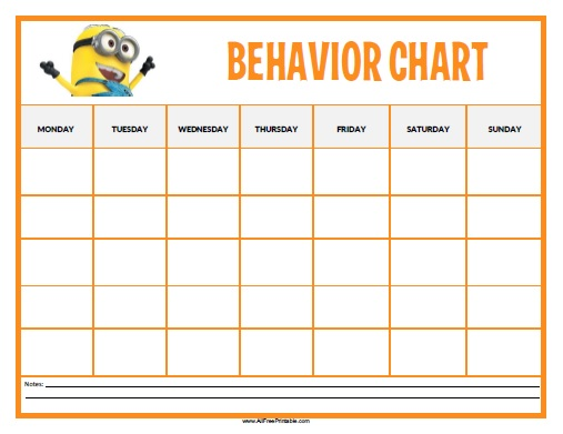 Minions Behavior Chart - Free Printable - AllFreePrintable - Kids Behavior Chart Template