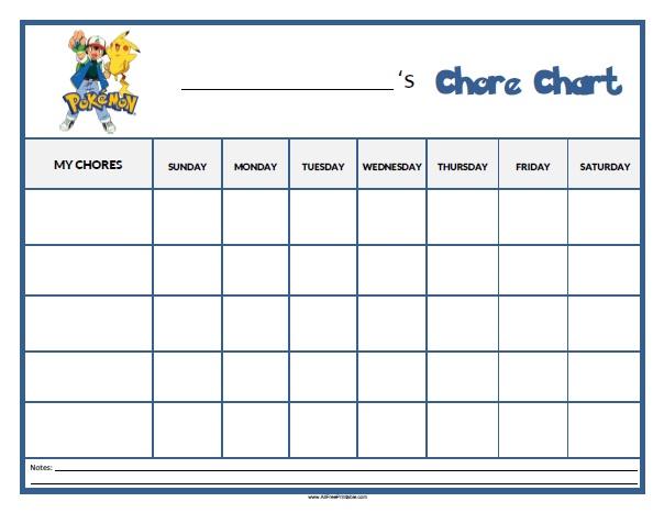 Pokemon Chore Chart - Free Printable - AllFreePrintable