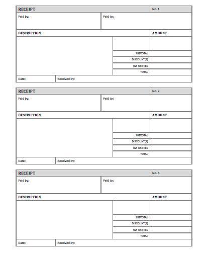 Receipt Template - Free Printable - AllFreePrintable - blank receipt to print
