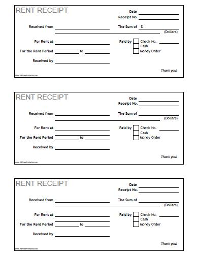 Rent Receipt - Free Printable - AllFreePrintable - printable rent receipts