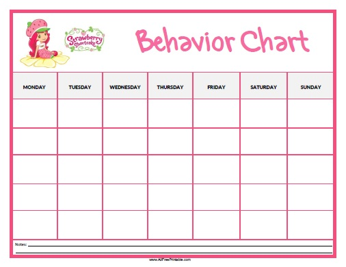 Strawberry Shortcake Behavior Chart - Free Printable - printable behavior chart