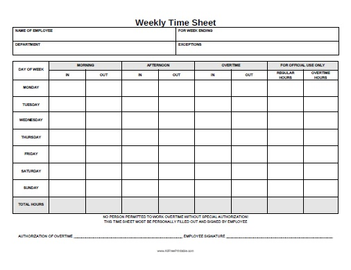 Weekly Time Sheet - Free Printable - AllFreePrintable