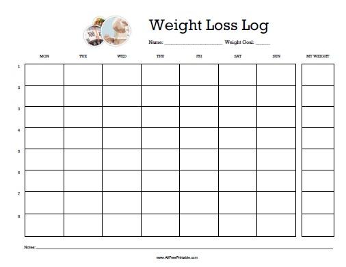 Weight Loss Log - Free Printable - AllFreePrintable