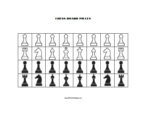 Chess Board Pieces - Free Printable - AllFreePrintable