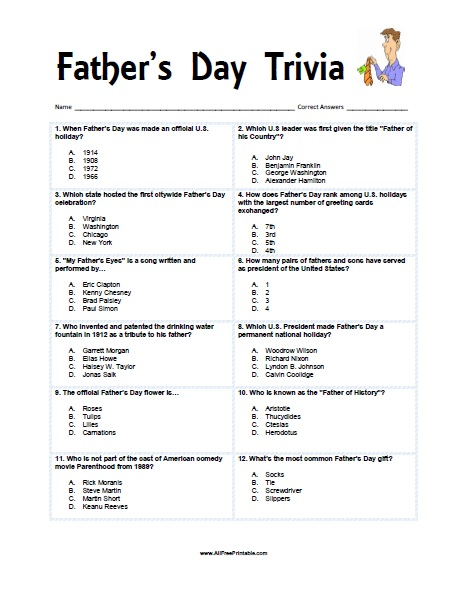 Father\u0027s Day Trivia - Free Printable - AllFreePrintable