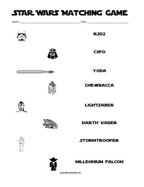 Star Wars Matching Game - Free Printable - AllFreePrintable