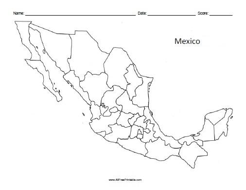Mexico Blank Map - Free Printable - AllFreePrintable