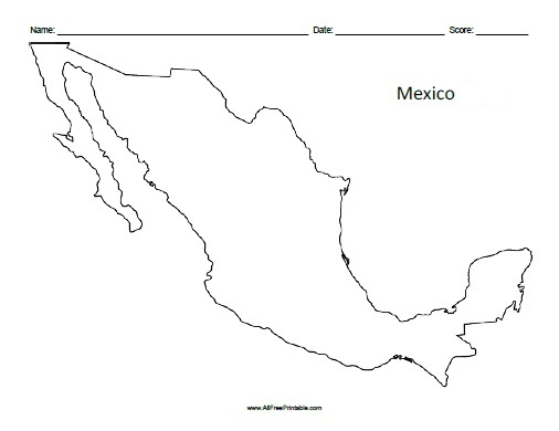 Mexico Outline Map - Free Printable - AllFreePrintable