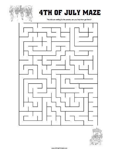 Fourth of July Maze - Free Printable - AllFreePrintable