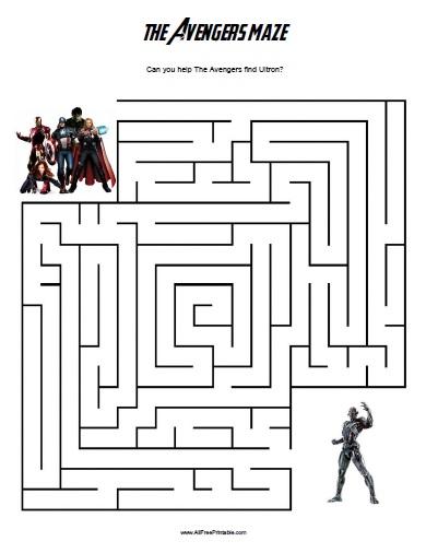 The Avengers Maze - Free Printable - AllFreePrintable