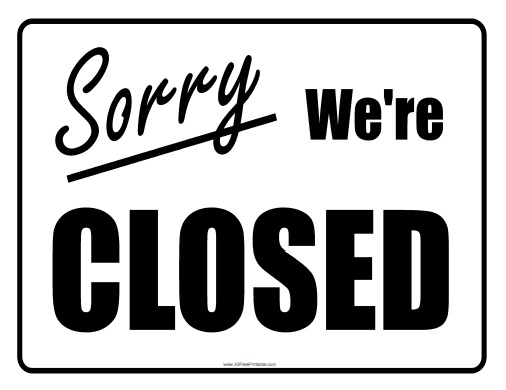Closed Sign - Free Printable - AllFreePrintable - holiday closure sign template