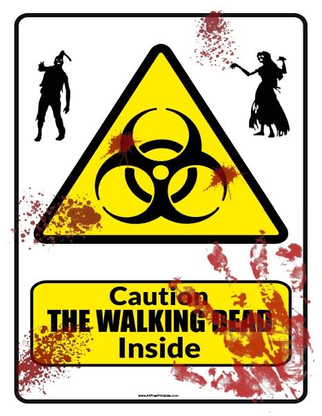 The Walking Dead Caution Sign - Free Printable - AllFreePrintable