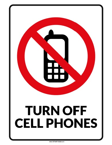 Turn Off Cell Phone Sign - Free Printable - AllFreePrintable