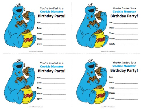 Cookie Monster Birthday Invitations - Free Printable