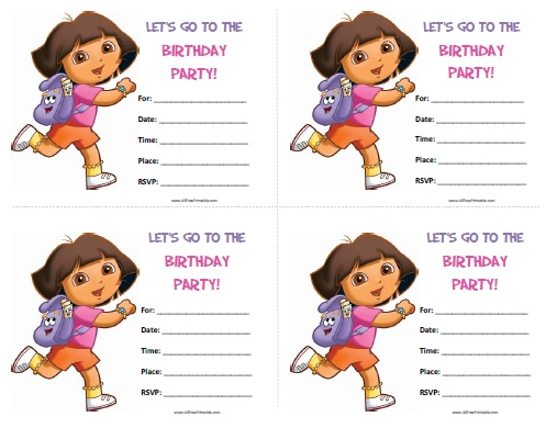 Dora the Explorer Birthday Invitations - Free Printable