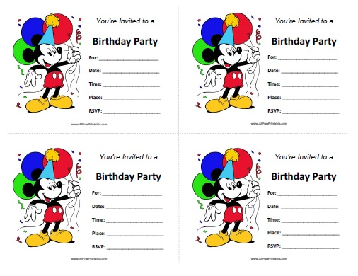 Mickey Mouse Birthday Invitations - Free Printable