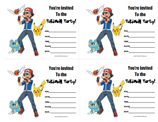 Pokemon Birthday Invitations - Free Printable - AllFreePrintable