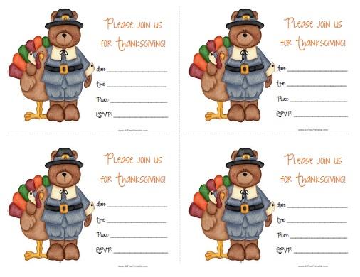 Thanksgiving Invitations - Free Printable - AllFreePrintable