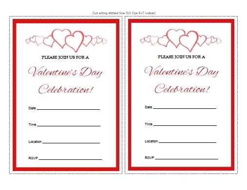 Valentine\u0027s Day Invitations - Free Printable - AllFreePrintable