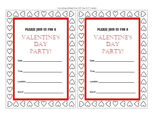 Valentine\u0027s Day Party Invitations - Free Printable