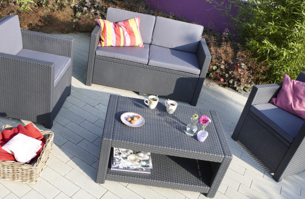 Table De Jardin Allibert Allibert Monaco Lounge Set Graphite - Allibert