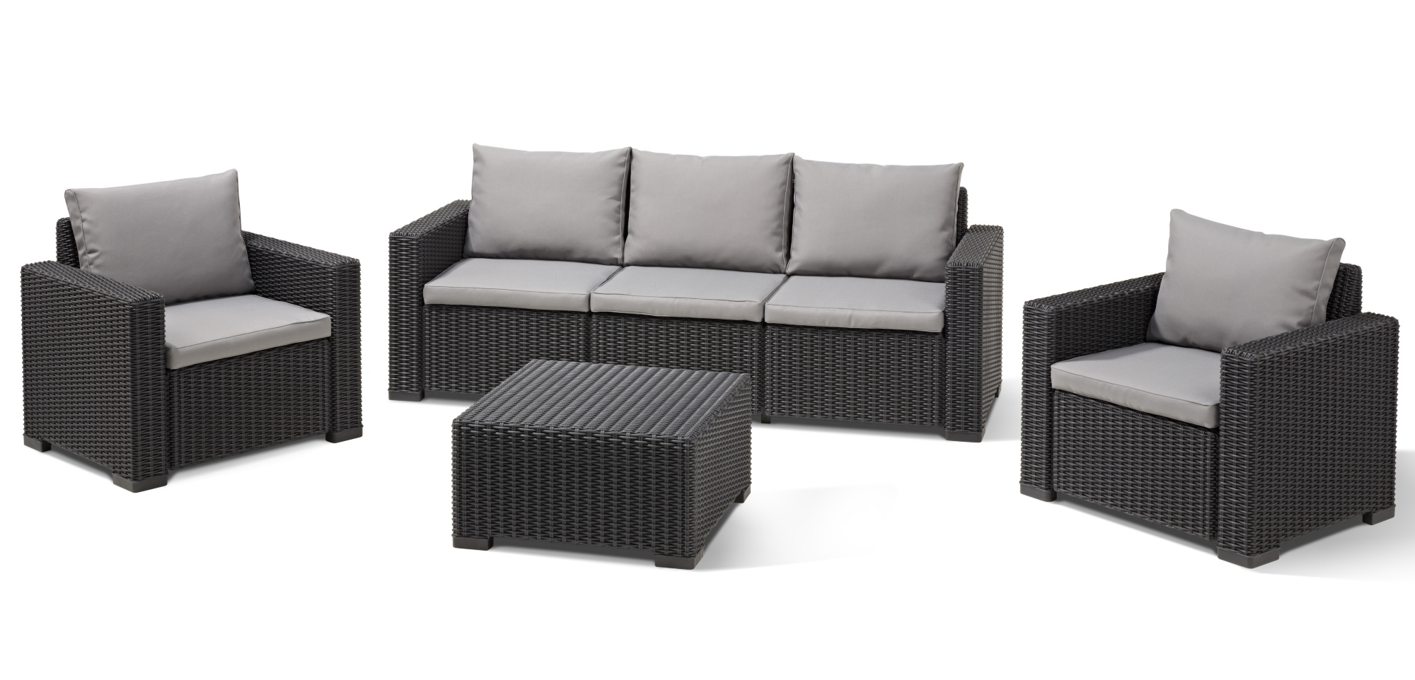 Salon De Jardin Boston Allibert California Lounge Set Graphite Three Seater