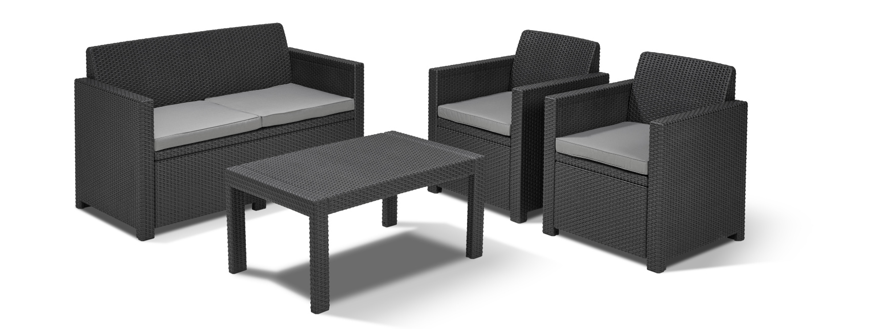 Allibert Sessel Allibert Merano Lounge Set Graphite Allibert