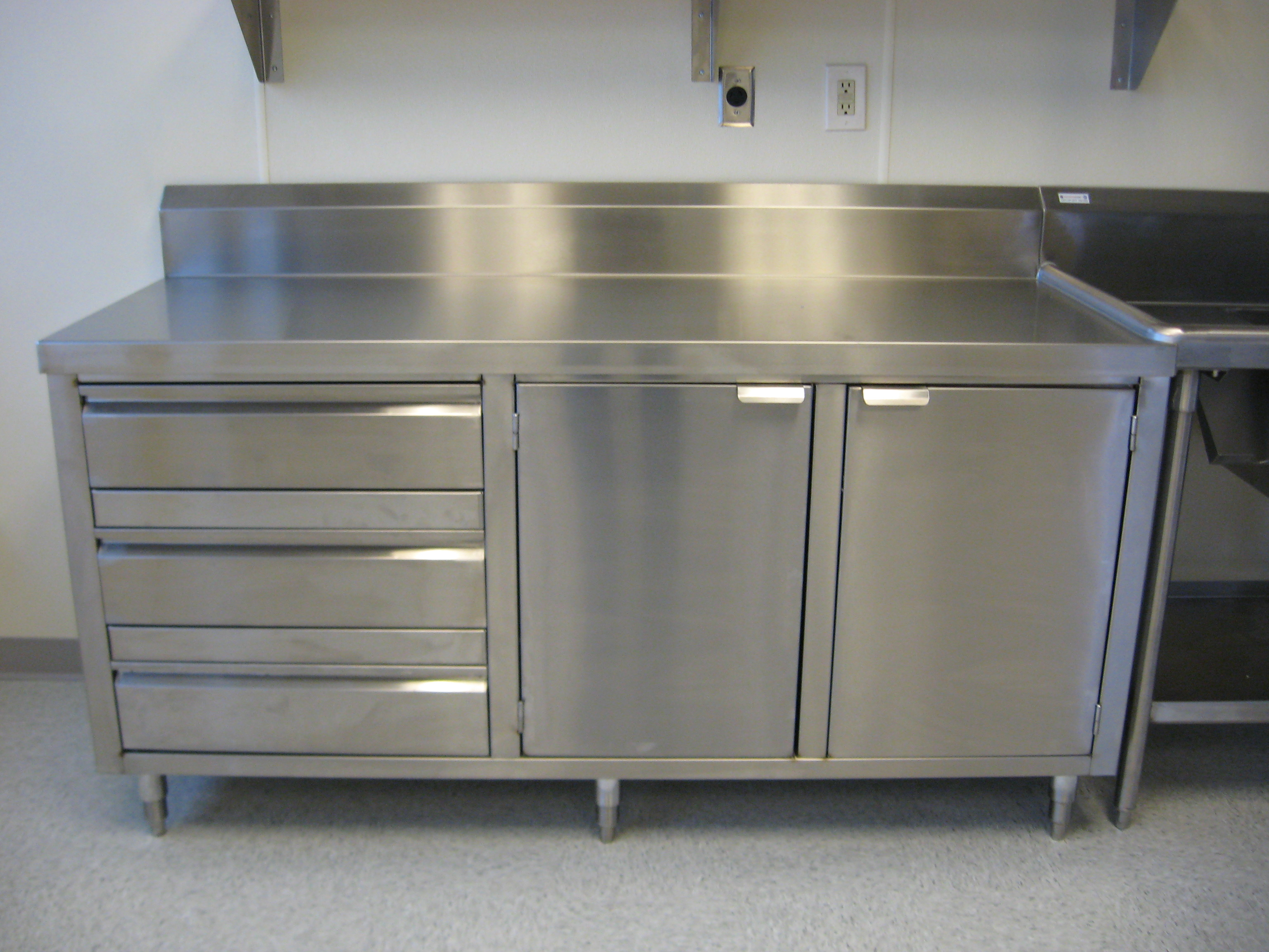 L Shaped Kitchen Base Cabinet Custom Stainless Dish Cabinet