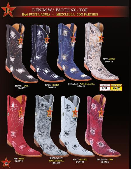 Mens 6x Extreme Toe Denim Patches Cowboy Western Boots