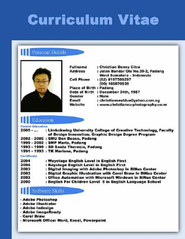 Form Biodata Bahasa Inggris Resume Format For Banking Question What Is The Difference Between Curriculum Vitae
