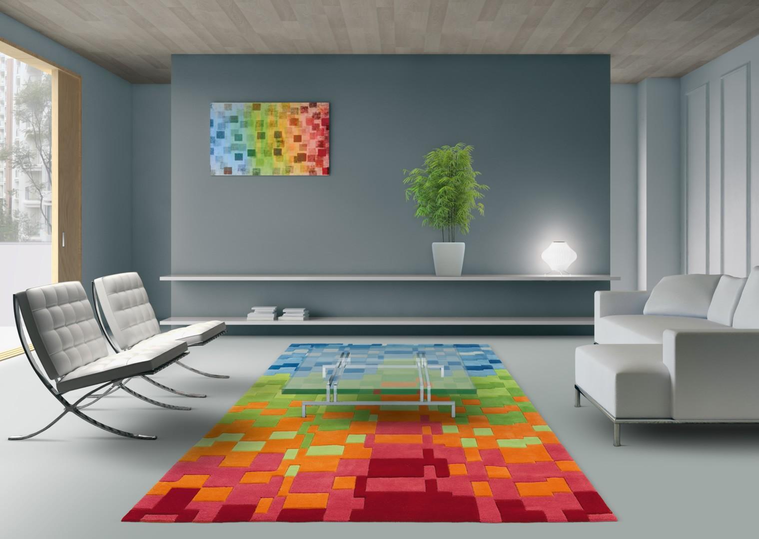 Tapis Salon Colore | Decoration Salon Marron Beige Unixpaint