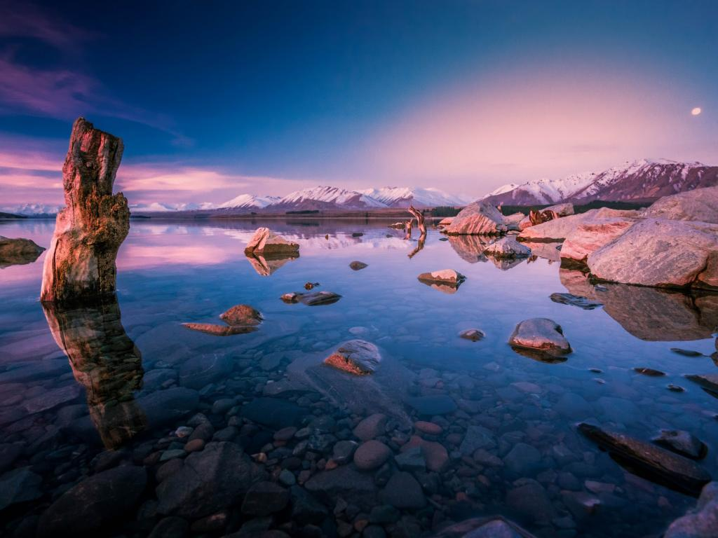 Good Evening Wallpaper Quotes Evening Sunset Over Lake Tekapo New Zealand For Desktop