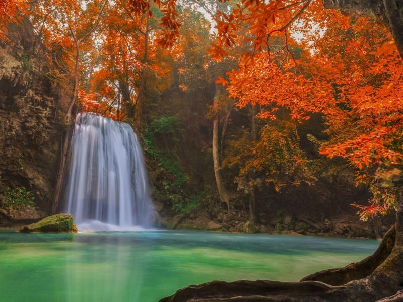 Motivational Quotes Wallpaper Full Hd Hd Picture Of Nature With Waterfall On Autumn Forest Hd