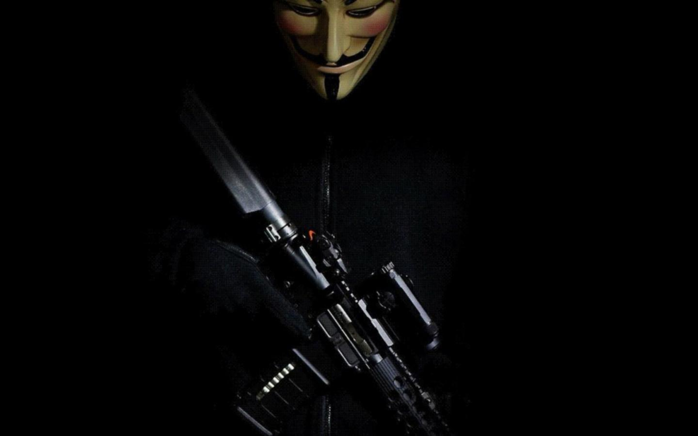 Hacker Wallpaper Hd 1366x768 Anonymous Mask Picture With Weapon For Wallpaper Hd